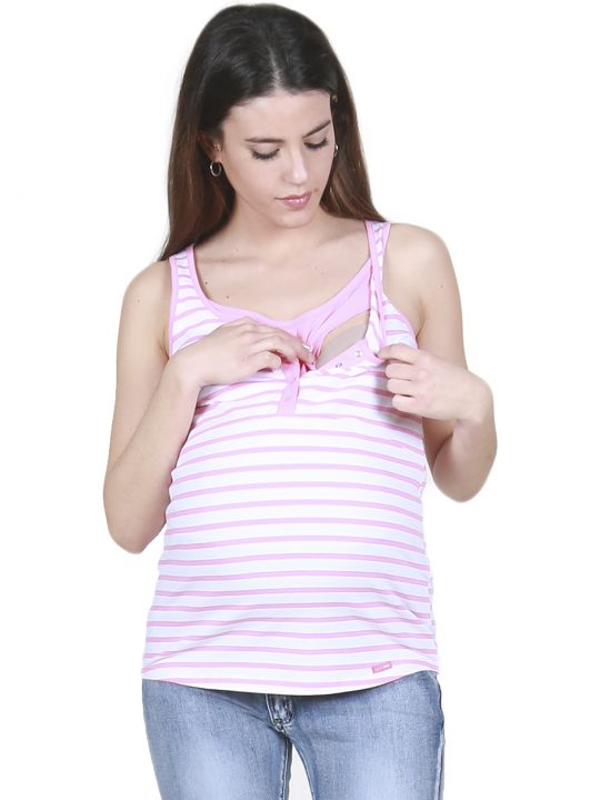striped pink nursing and maternity vest top