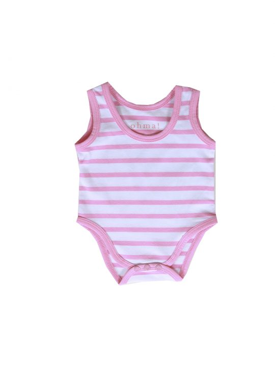 cute pink striped babygro