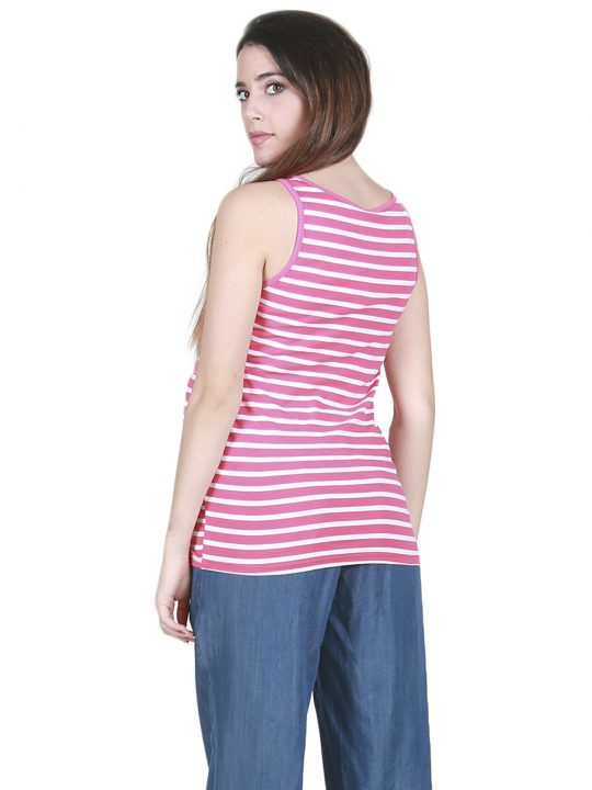 pink striped nursing and maternity vest top