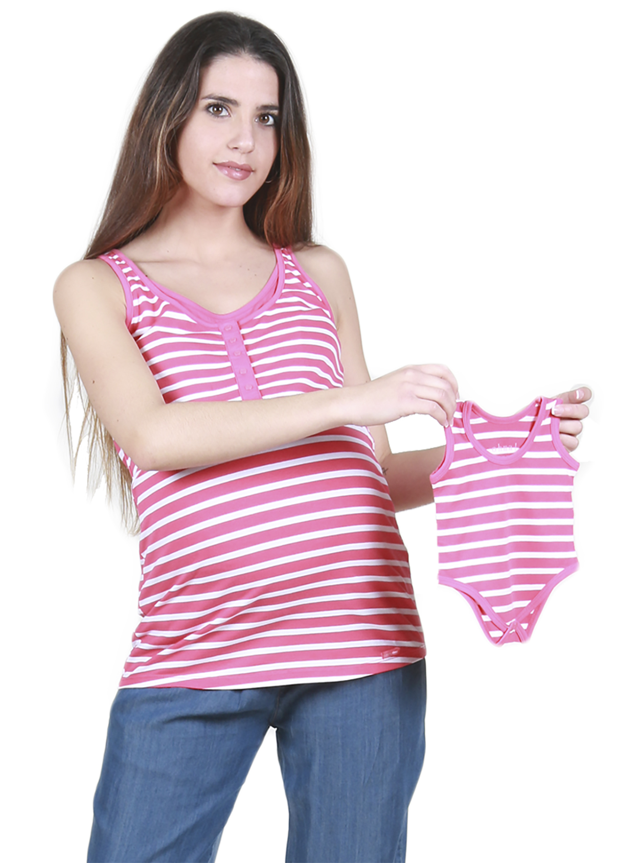 9a0faf29cc514 Striped Maternity and Nursing Vest Top With Matching Baby Vest ...