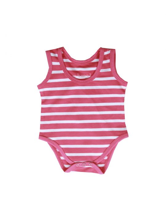 pink striped cute babygro