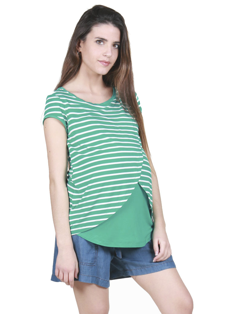 Green striped Nursing and Maternity top