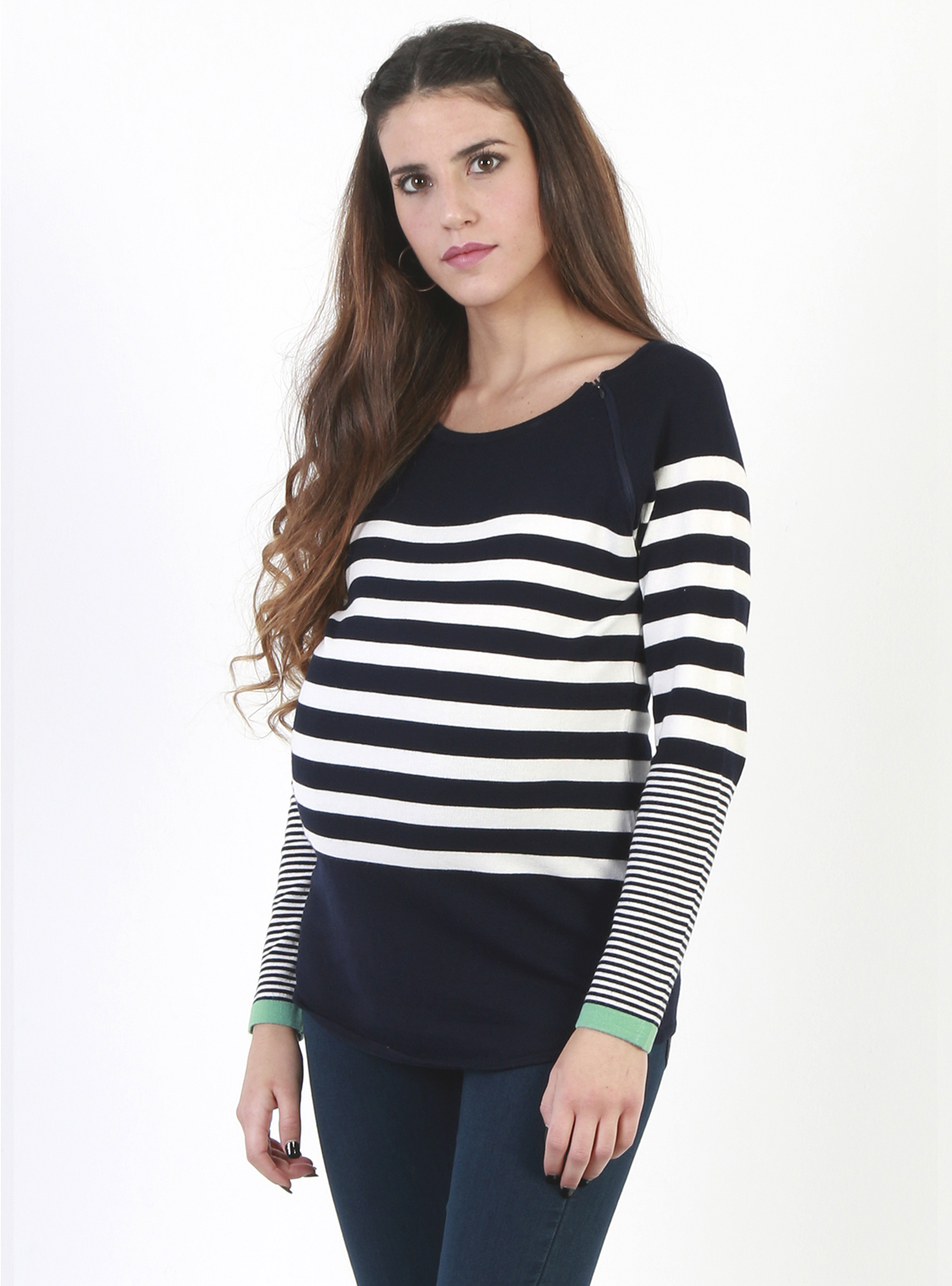 504fd70c9574ba Blue Striped Nursing and Maternity Sweater with Green Contrast Cuffs ...