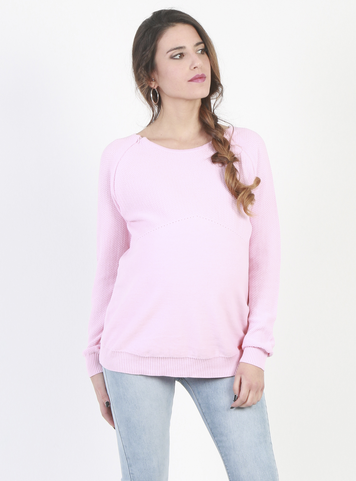 1ca6d838dec43 Lightweight, Pink Nursing and Maternity Jumper - Lulibelle