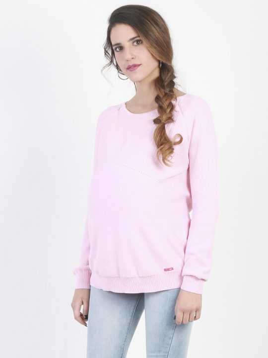 pink, hidden zip nursing and maternity jumper