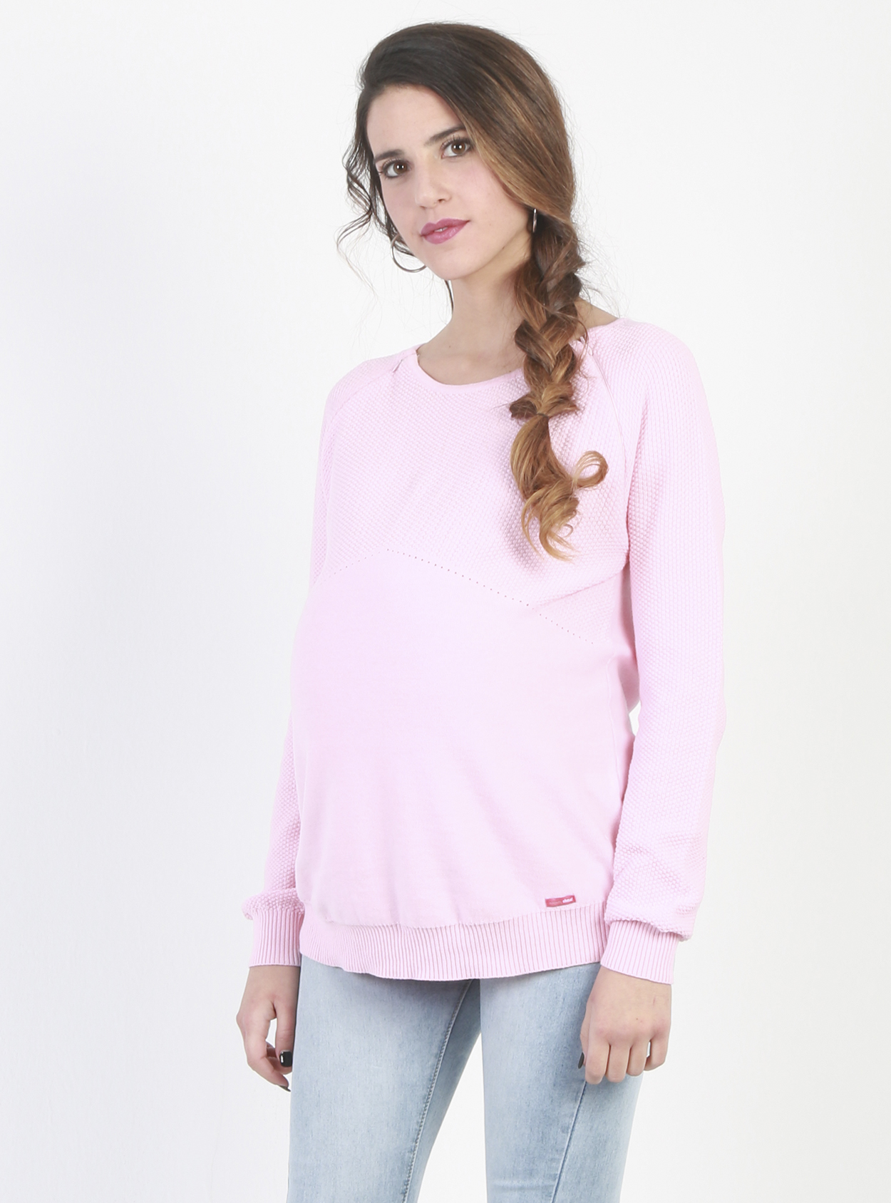 08c1618e37c52 Lightweight, Pink Nursing and Maternity Jumper - Lulibelle
